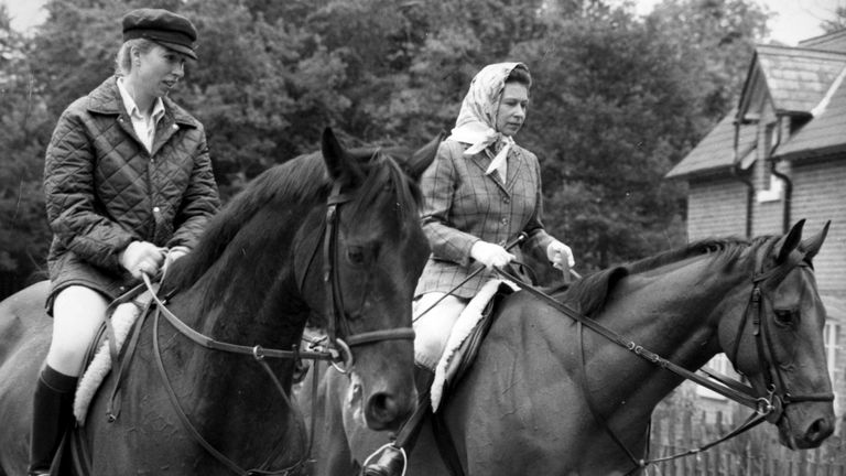 The Queen and Princess Anne riding at Ascot in 1975