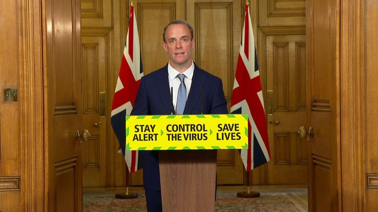 Foreign Secretary Dominic Raab delivers the government's daily coronavirus press briefing from Downing Street.