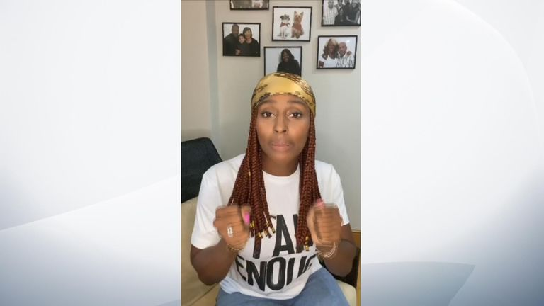 Alexandra Burke sharing her experiences of racism in an Instagram video