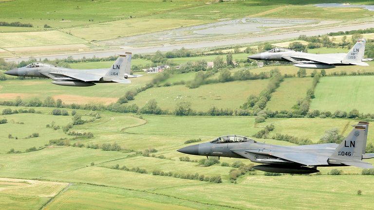 The 48th Fighter Wing posted a picture of three jets in flight on Monday morning. Pic: @48FighterWing/Twitter
