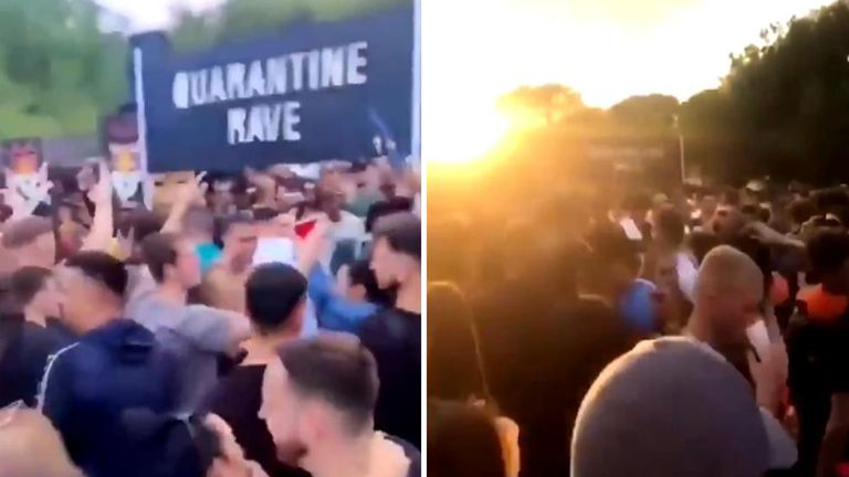 A big sign at one of the events declared it was a 'quarantine rave'