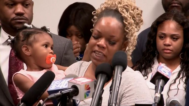 The widow of Rayshard Brooks spoke to media surrounded by family and legal representatives.