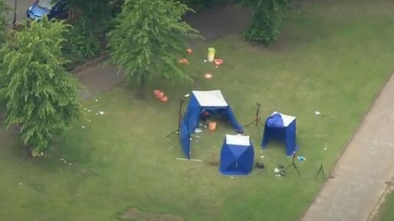 Blue tents were put up at the scene in Forbury Park