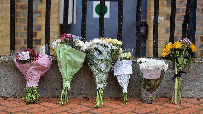 Flowers were left near the entrance to Forbury Park