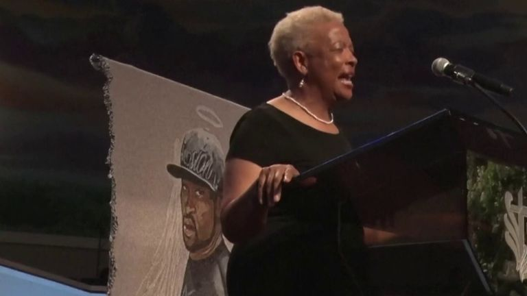 Reverend Dr Mary White offers prayer at funeral of George Floyd