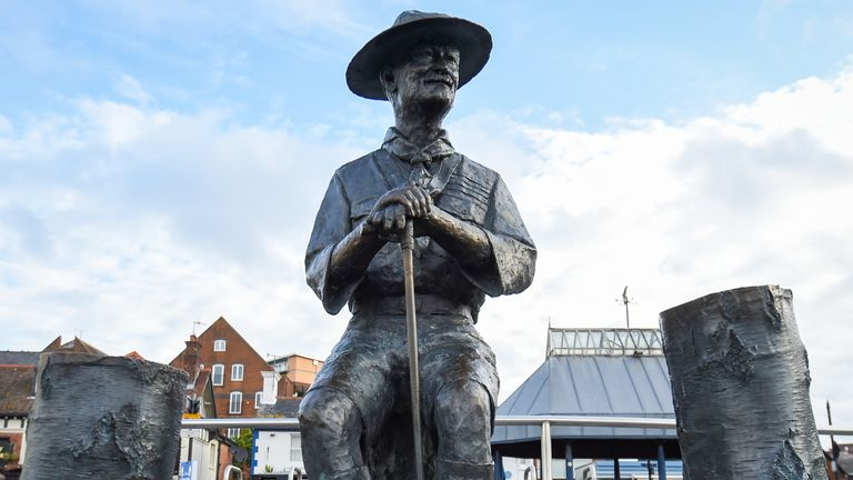 "POOLE, ENGLAND - JUNE 11: General view of the Lord Baden-Powell statue on June 11, 2020 in Poole, United Kingdom. The statue of Robert Baden-Powell on Poole Quay is to be placed in ""safe storage"" following concerns about his racial views and ""Nazi sympathies"". (Photo by Finnbarr Webster/Getty Images)"