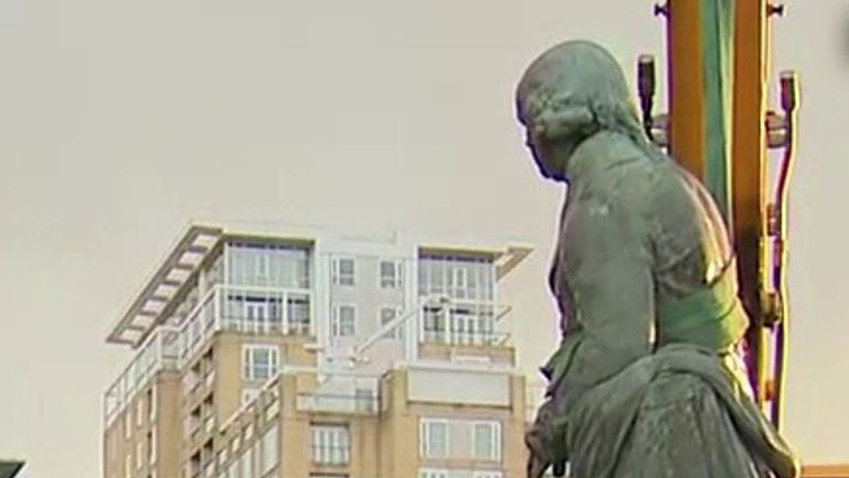 Statue of Robert Milligan is removed from London dock