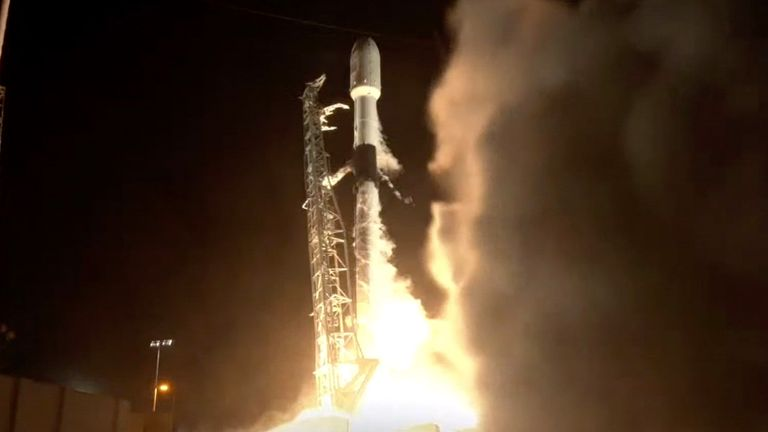 A SpaceX Falcon 9 Rocket launches a ninth batch of around 60 satellites for SpaceX's Starlink broadband network.