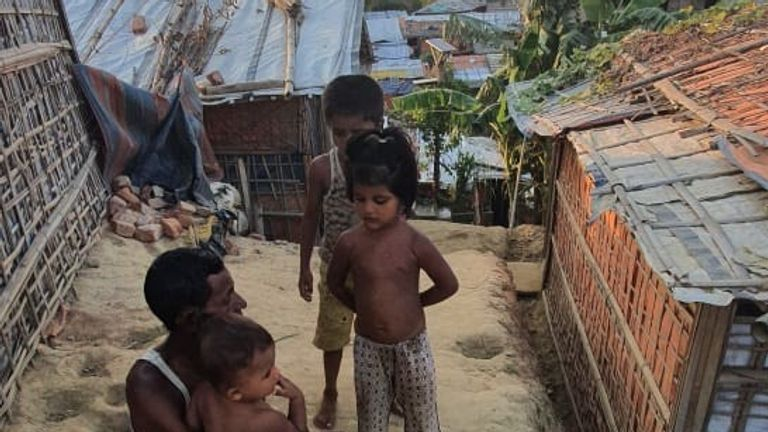 A Rohingya refugee family in Kutupalong camp in Cox's Bazaar, Bangladesh