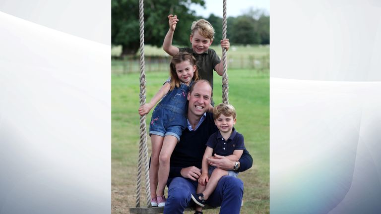 An undated handout photo, taken by Britain's Catherine, Duchess of Cambridge, shows Britain's Prince William, Duke of Cambridge, Prince George, Princess Charlotte and Prince Louis, in Norfolk, Britain June 20, 2020. Pic: The Duchess of Cambridge