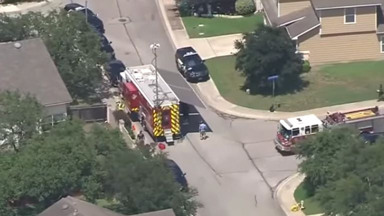 Emergency services at the scene. Pic: KSAT