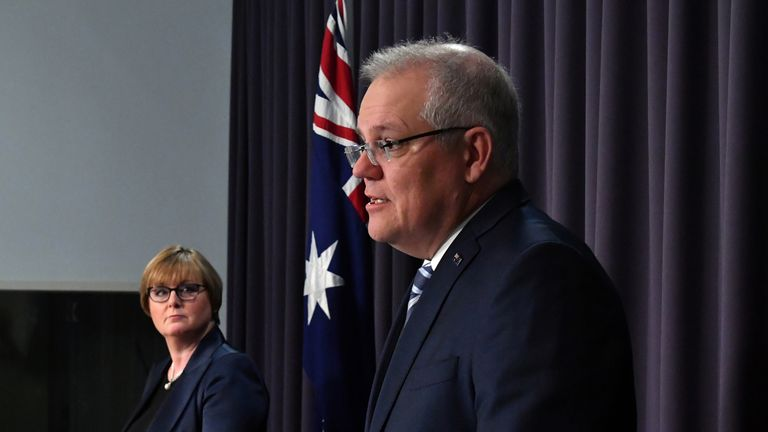 Australia's Prime Minister Scott Morrison has stopped short of naming the country responsible