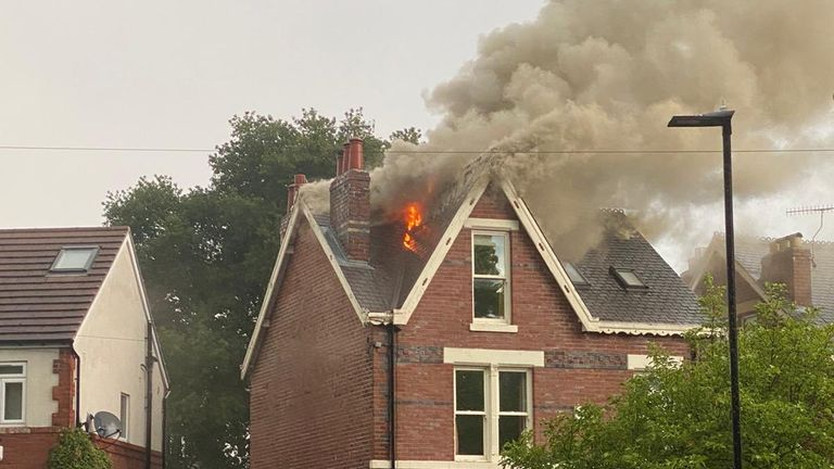 More than 20 firefighters attended the house in Sheffield after it was struck by lightning