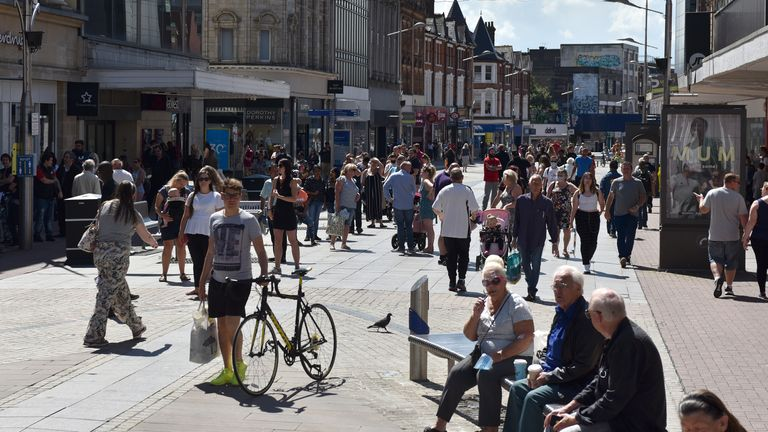 Shoppers in Southend-on-Sea after stores across the UK reopened