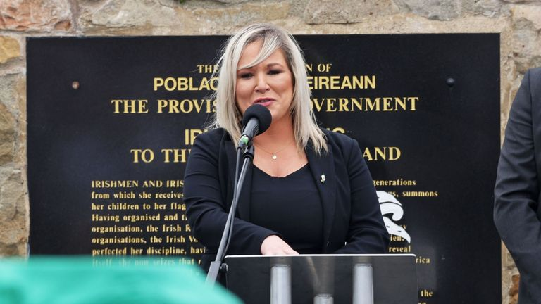 Sinn Fein's vice president Michelle O'Neill spoke at the funeral