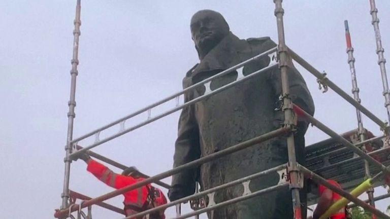 Statue of Sir Winston Churchill is unboxed in Parliament Square