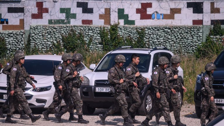 South Korean soldiers were deployed to a military base near the border with the South