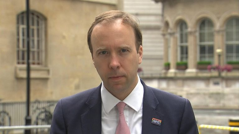 Health Secretary Matt Hancock speaks to Sky's Sophy Ridge on Sunday about hospitality potentially opening on 4th July