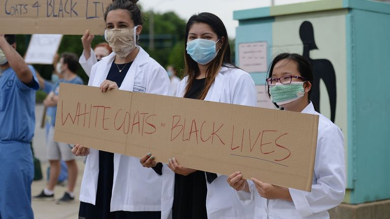 Hundreds of medical professionals in St Louis, Missouri, protested
