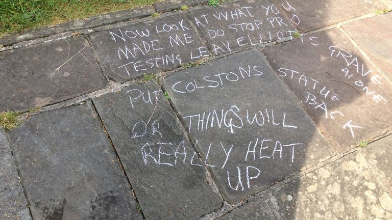 A message was written on the ground after the headstone was damaged. Pic: David Lloyd