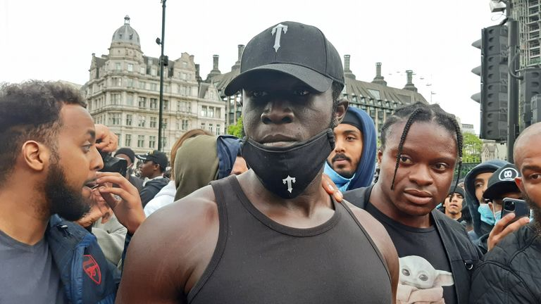 Stormzy at the Black Lives Matter protest rally in Parliament Square, London, in memory of George Floyd who was killed on May 25 while in police custody in the US city of Minneapolis. PA Photo. Picture date: Sunday June 7, 2020. See PA story POLICE Floyd. Photo credit should read: Helen William/PA Wire