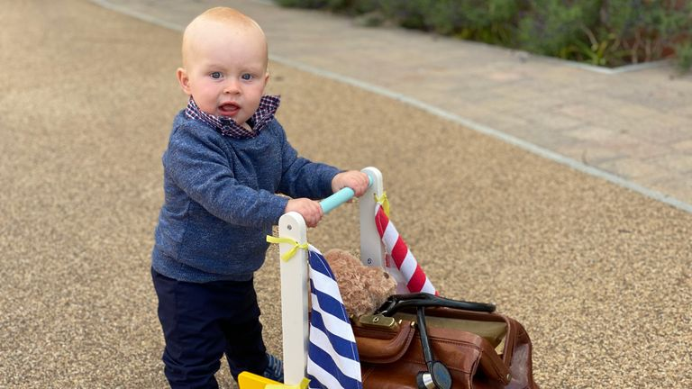 The infant has 59 lengths left to walk before he turns one on July 17