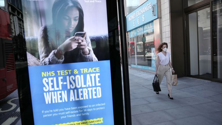 A Test and Trace advert on Oxford Street in London