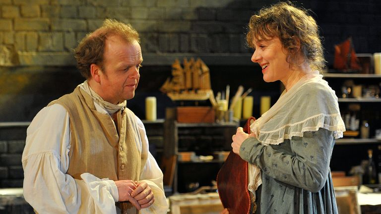 British actor Toby Jones performs a scene as one of Britain's most celebrated artists, Joseph Mallord William Turner, with Irish actress Niamh Cusack (R) as his mistress Sarah Danby, during a preview of the play 'The Painter' at the Arcola Theatre in east London January 13, 2011. The production stages its world premiere on January 14. REUTERS/Toby Melville (BRITAIN - Tags: ENTERTAINMENT PROFILE)
