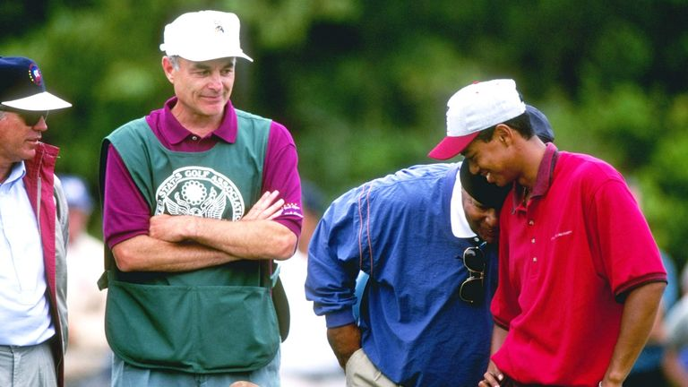 27 Aug 1995: Earl and Tiger Woods hug each other at the US Amateur Championships at the Newport Country Club in Newport, Rhode Island. Mandatory Credit: J.D. Cuban /Allsport