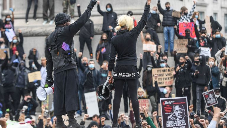 Black Lives Matter protesters carried out an anti-racism demonstration in London on Friday
