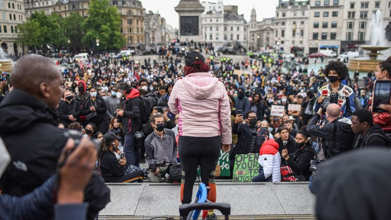 Black Lives Matter protesters gathered in Trafalgar Square on Friday