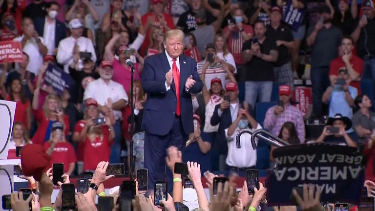 Trump addresses Tulsa rally as crowd underwhelms