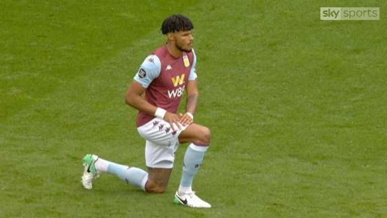 Tyrone Mings was among those who took a knee ahead of the first Premier League game after lockdown