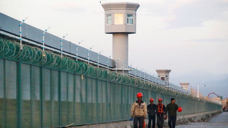The perimeter fence of what is officially known as a vocational skills education centre in Xinjiang, where Uighur Muslims are detained