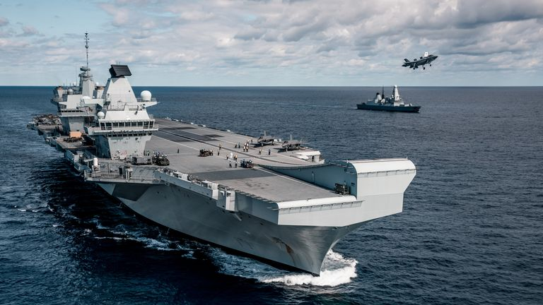 EMBARGOED TO 0001 FRIDAY JUNE 26 Handout file photo dated 13/10/19 issued by the Ministry of Defence of a UK F-35 Lightning jet on HMS Queen Elizabeth for the first time. The Royal Navy's ability to operate its two new aircraft carriers may be severely restricted due to a lack of support vessels to keep them supplied, the Whitehall spending watchdog has warned.