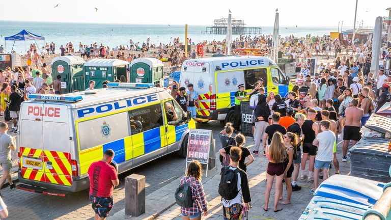 Police on the Brighton promenade. Pic: Hugo Michiels/LNP