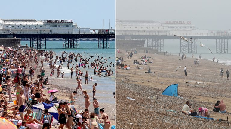 Composite photo of (top) crowds gathered on Brighton beach yesterday (25/06/20), and the same area today (bottom), as thunderstorms and torrential rain are forecast to sweep across the UK, bringing an end to a week of blazing sunshine and scorching temperatures.