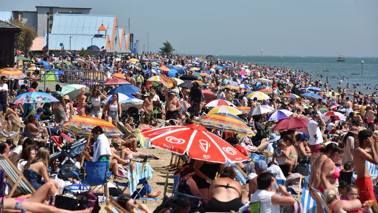 SOUTHEND-ON-SEA, ENGLAND - JUNE 25: A general view of crowds on the beach on June 25, 2020 in Southend-on-Sea, England. The UK is experiencing a summer heatwave, with temperatures in many parts of the country expected to rise above 30C and weather warnings in place for thunderstorms at the end of the week. (Photo by John Keeble/Getty Images)