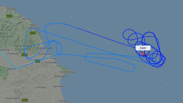 A plane was seen circling the area. Pic: FlightRadar24