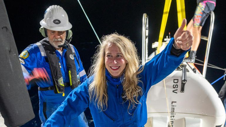 Undated handout photo issued by Vanessa O'Brien of herself as she prepared for the dive down to the bottom of the Mariana Trench. The British-American explorer has officially become the first woman to reach Earth's highest and lowest points.