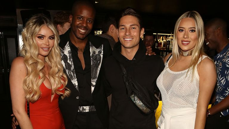 (L-R) Chloe Sims, Vas J Morgan, Joey Essex and Demi Sims attend the launch of new magazine TINGS London at Mews of Mayfair on June 29, 2017 in London, England