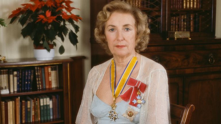English singer Vera Lynn with her medals, circa 1980. (Photo by Doug McKenzie/Getty Images)