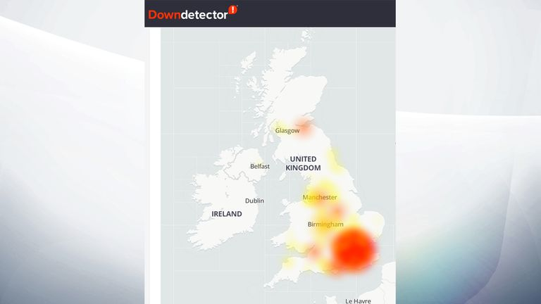 Virgin Media outage. Pic: Downdetector