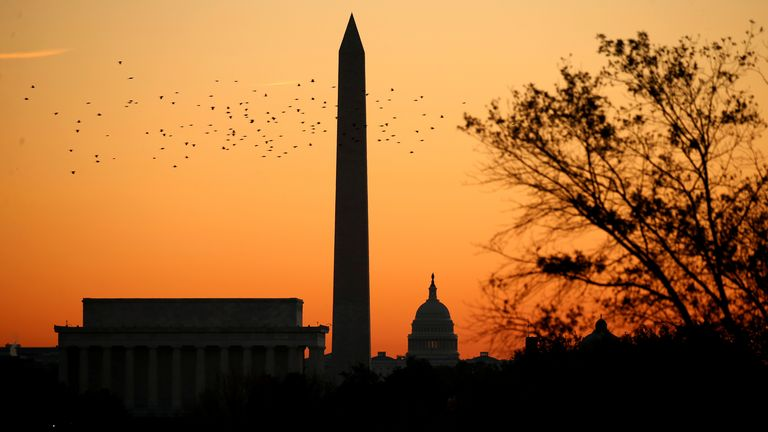 Washington DC's Lincoln Memorial, the Washington Monument and the US Capitol