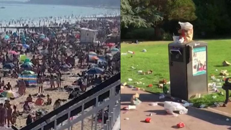 Piles of rubbish were left strewn across a park and the beach was packed as crowds flocked to Bournemouth during the hot weather