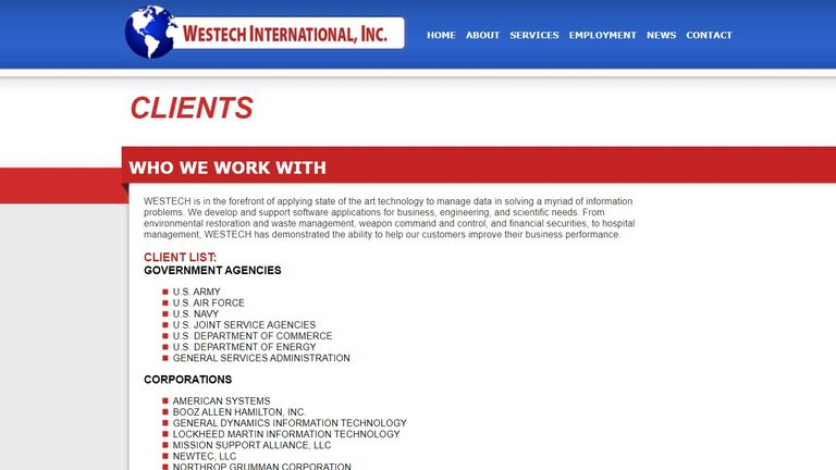 Westech International is a US military contractor