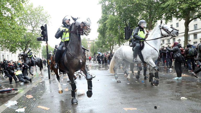 Police on horseback tried to keep the protests under control