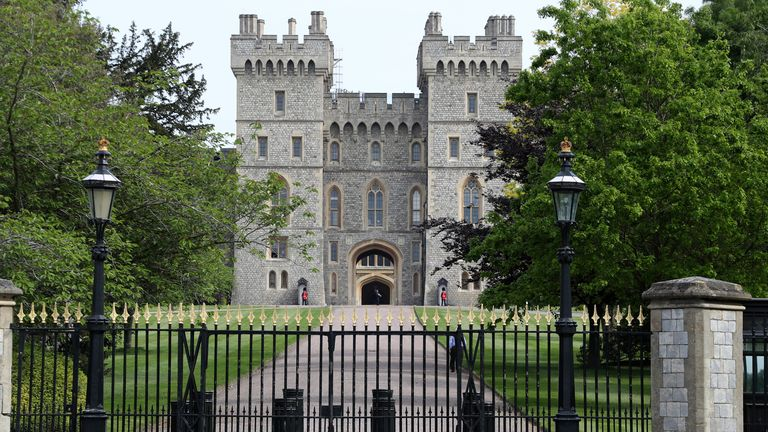 A general view of Windsor Castle, with Queen Elizabeth II in residence, on May 08, 2020 in Windsor, United Kingdom