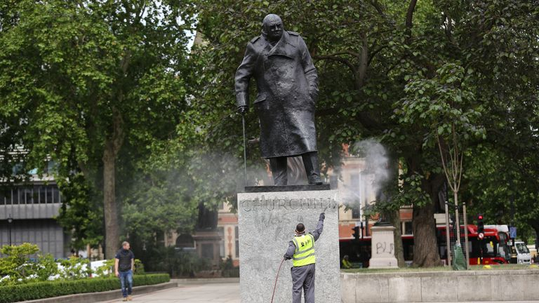 Graffiti had to be cleaned off the statue following a Black Lives Matter protest