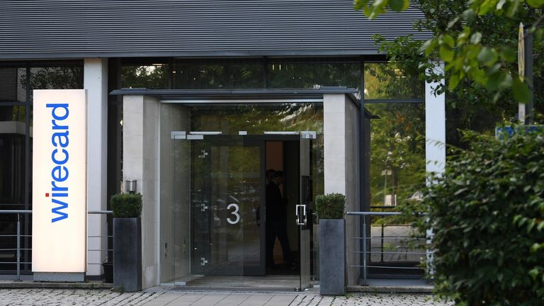 Picture taken on September 18, 2018 shows the entrance of the headquarters of the technology and financial services company Wirecard in Aschheim near Munich